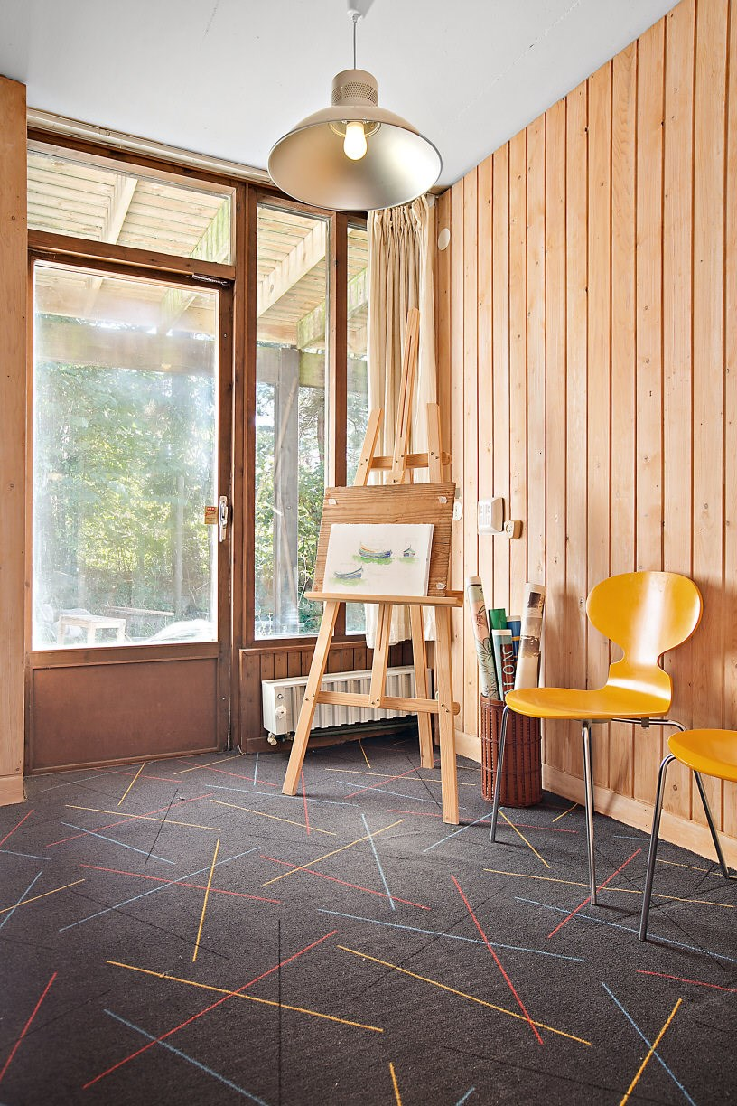1960s architect-designed modernist property in sweden - wooden walls office