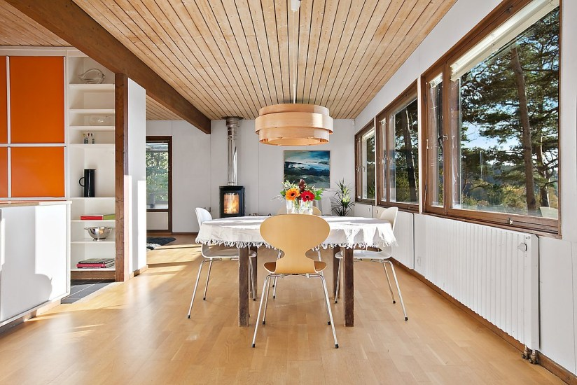 1960s architect-designed modernist property wooden ceiling dining room